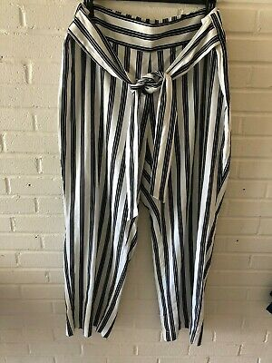 New NY Collection Woman's Wide Leg Striped Linen Blend Pants  Black & White  T38