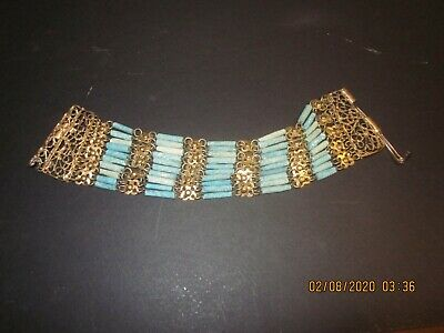 Antique Egyptian Revival Faience Turquoise Bracelet