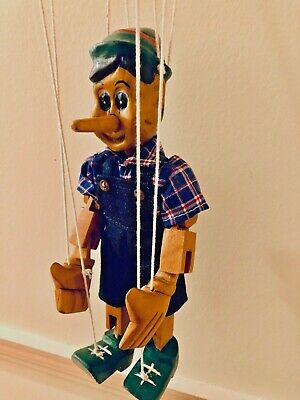 Hand Carved / Painted Wooden Pinocchio Thailand String Marionette Puppet