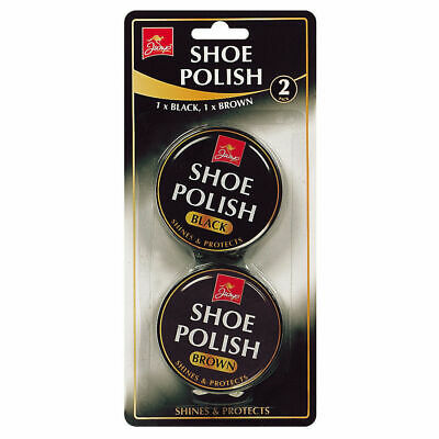2Pk Black & Brown Shoe Boots Polish Metal Tins Shine Protects Leather Protector