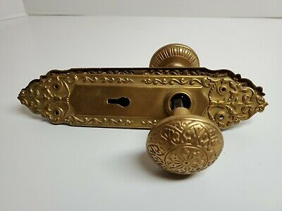 ANTIQUE VICTORIAN BRASS BRONZE DOORKNOBS OLD SET with Back Plates
