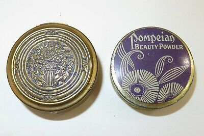 2 pc lot Pompeian-  Bloom rouge compact & Beauty powder tin - Purple Gold 1920s