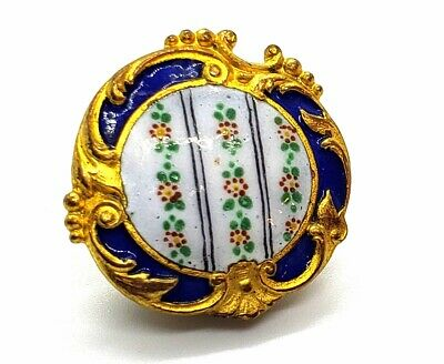 """Antique Button…Wonderful Rococo Enamel …Rows of Tiny Flowers…Shape…15/16"""""""