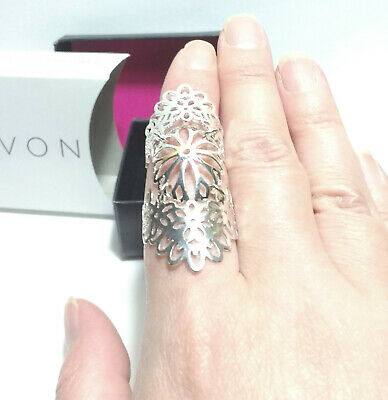 Avon Ring Stamped Filigree 3-Part Adjustable Ring Silver-Tone New In Box