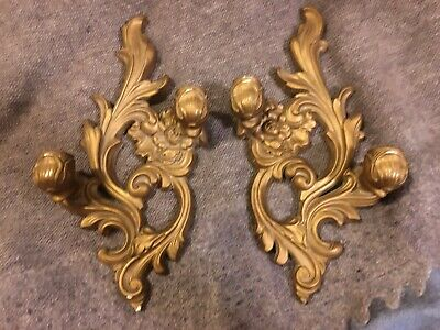 Vintage Pair Floral Florentine Scroll Gold Wall Candle Sconces Hollywood Regency