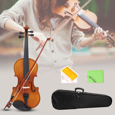 US Full Size 4/4 Natural Solid Wood Spruce Maple Veneer Violin High Quality O4Z0