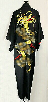 MAN'S MARUKY Japanese Kimono  Black Gold Dragon Embroidered Red Lined ROBE 59""