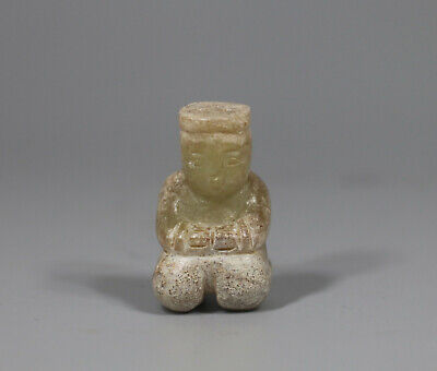 old Chinese Han Dy. green jade carved kneeling god figure Asia pendant
