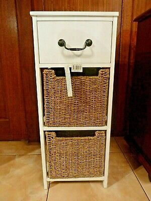 Three Drawer Cane Wooden Cabinet New