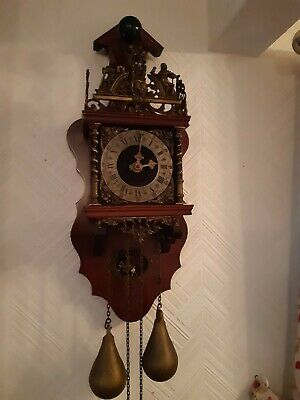 vintage Dutch wall clock with double weight