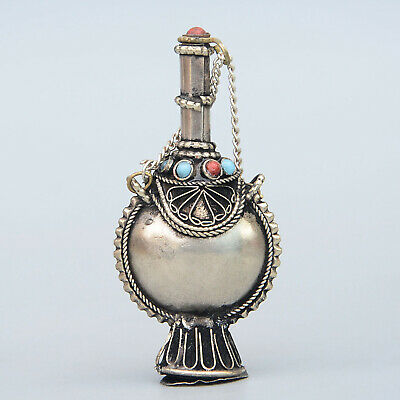 Collection China Old Miao Silver Armour Turquoise Hand-Carved Noble Snuff Bottle