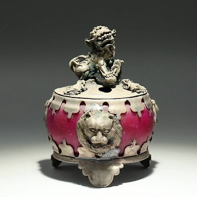 Collectable China Old Miao Silver Armour Agate Hand-Carved Myth Lion Luck Censer