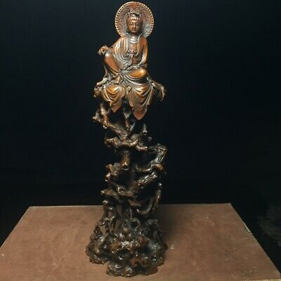 Collect China Old Boxwood Hand-Carved Kwan-Yin Delicate Buddhism Decorate Statue