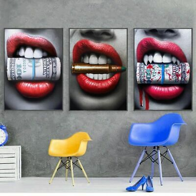Wall Art Prints Posters Sexy Red Lips Modern  paintings For living room Decor