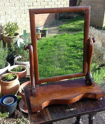 Antique Vintage Handsome Mahogany Dressing Table Swing Mirror