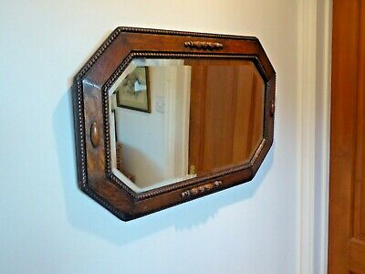 Antique Art Deco Oak Framed Bevelled Edge Mirror 72cm x 47cm