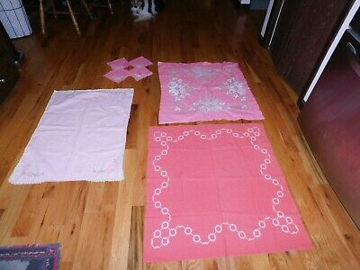 Small Pink Tablecloths Lot Vintage Handmade Hand Embroidered Flower Chain