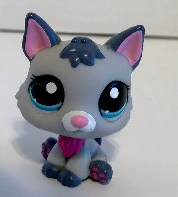 Littlest Pet Shop Gray GERMAN SHEPHERD #2482 Blue Eyes Pink Dog Puppy TLC