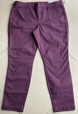 NWT Old Navy Women's Mid-Rise Pixie Chino Ankle Pants Purple Jam Size 14 #122