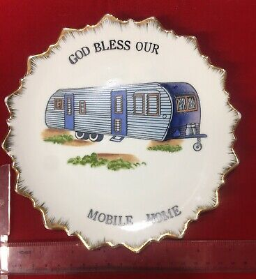 VTG Aluminum Trailer God Bless Our Mobile Home Wall Hanging Plate Retro Camping