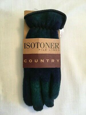 Aris Isotoner Pile Lined Contry Gloves W Suede Palms Size Small Nwt