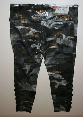 New Justice Girls 12 yr Metallic Black Camo  Athletic Leggings Active