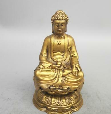 China seiko carving Pure brass Sakyamuni Buddha small statue
