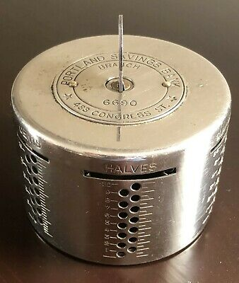 Vintage Metal Automatic Recording Safe Coin Bank Portland Savings Bank with Key