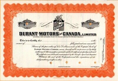 Durant Motors of Ontario, Canada Specimen Stock Certificate - Only Example Known