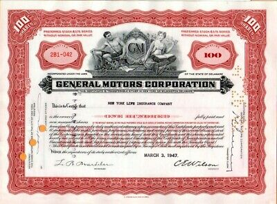 General Motors Corporation 1947 Stock Certificate Excellent Condition #042