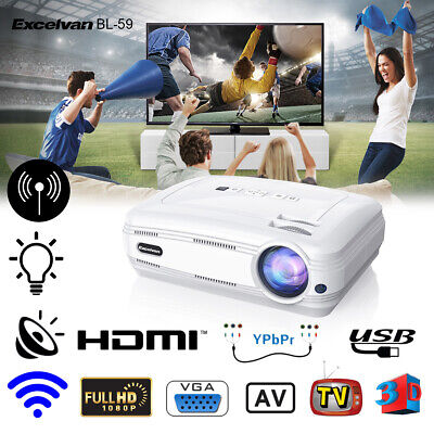 Excelvan BL-59 Proyector WIFI Android 6.0 3000:1 6000LM Home Projector Teatro ES