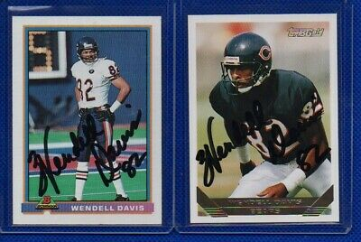 1991 Bowman & 1993 Topps Gold Wendell Davis Autographed Football Cards! Bears!