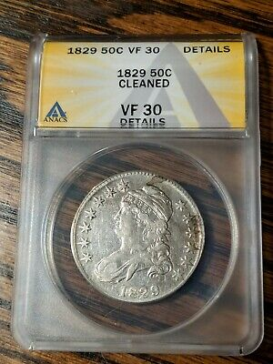1829 Capped Bust Half Dollar ANACS VF30 Details