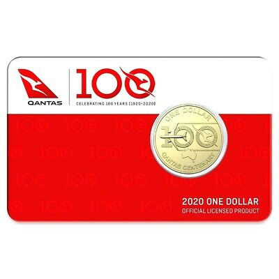 AUSTRALIA 2020 $1 QANTAS 100 YEARS COIN UNC in CARD #1 WORLD'S SAFEST AIRLINE