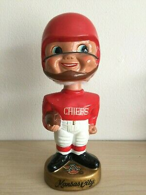 Kansas City Chiefs Vintage Bobblehead 1968 Gold Base Extremely Rare AFL Nodder