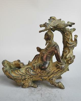 Chinese pure brass archaize old man under the tree statue