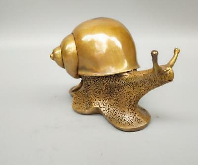 Chinese archaize pure brass snail crafts statue