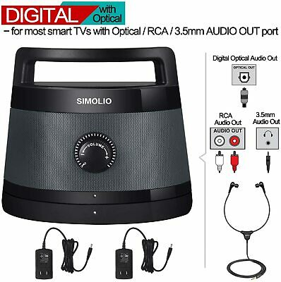 Digital Wireless TV Speaker Portable Audio Assistance with Optical in for Senior