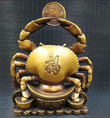 Chinese archaize Pure brass Home Decor crab Fortune statue