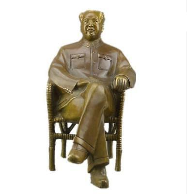Nice Asian Chinese Old Brass Handmade Carved Mao zedong Collect Statue Figure