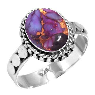 925 Sterling Silver Copper Purple Turquoise Handmade Ring Size Y 1/2 cM24420