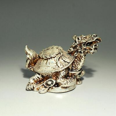 Collect Old Miao Silver Hand-Carve Myth Dragon Turtle & Wealth Bring Luck Statue