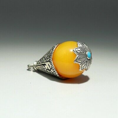 Collectable China Old Miao Silver Armour Agate Carve Bloomy Flower Decor Pendant
