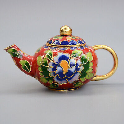 Collect China Old Cloisonne Hand-Carved Bloomy Flower Delicate Unique Tea Pot