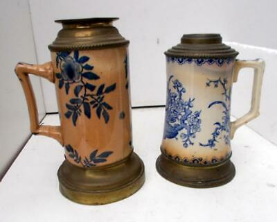 2 Antique French Pottery Aesthetic Chamber Oil Lamps, 1 Gien + 1 Other
