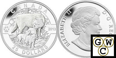 2013 'Wolf - O Canada' Proof $25 Silver Coin .9999 Fine (13147) (NT)