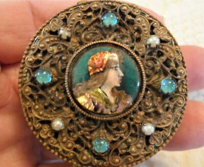 Ornate Small Jeweled, Filigree French Foil Enamel Limoges Portrait Box, Compact