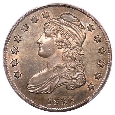 1836 50C Lettered Edge Capped Bust Half Dollar PCGS MS63 O-106 Beaded Reverse...
