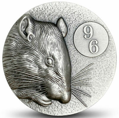 YEAR OF THE RAT 96 Mintage ZODIAC SERIES 2020 2 oz Pure Silver UHR Coin NIUE