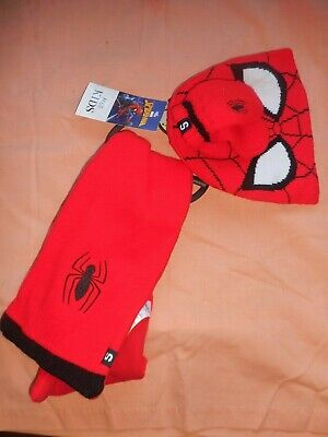 M And S Kids Kids Spiderman Pull On Hat Scarf Gloves Age 6-18 Months Bnwt